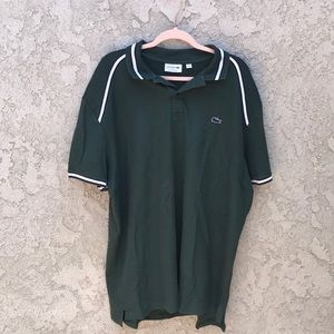 A men's green, polo with black and white